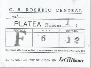 Ticket del último partido, jugado en Rosario.